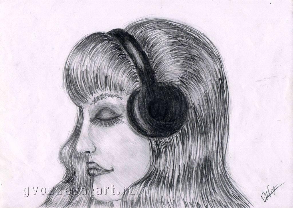 Рисунок девушки в наушниках